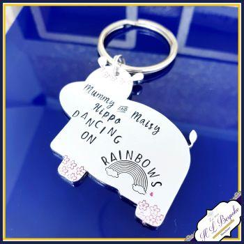 Personalised Hippo Gift - Hippo Keyring - CUSTOM WORDING - Gift For Hippo Lover - Hippopotamus Gift - Hippopotamus Keyring