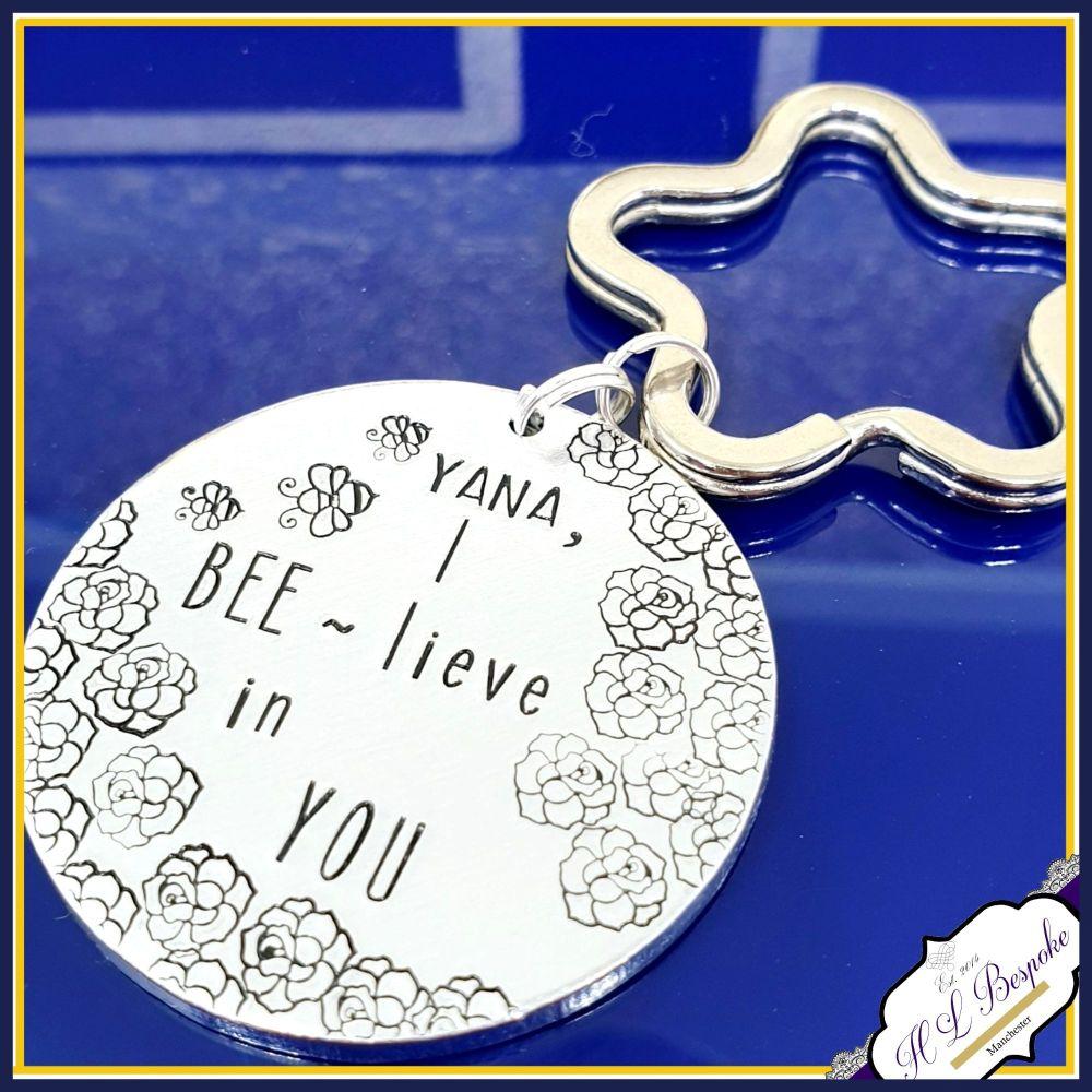 Beelive In You Keyring - Bee Gift - Beelive Gift - Believe Keychain - Belie