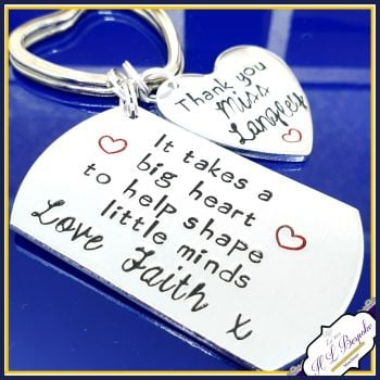 Childminder Keyring - It Takes A Big Heart - Thank You Child Minder - Help Shape Little Minds - Teacher Gift - Gift For Teaching Assistant