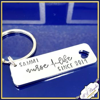 Personalised Gift For Nurse - Graduate Nurse Since Gift - Gift For Newly Qualified Graduate Nurse Keyring - Nurse Life Gift - New Nurse Gift