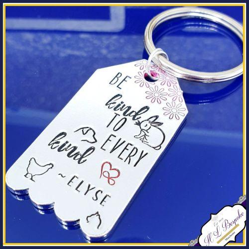 Vegan Keychain - Be Kind To Every Kind - Vegan Gift - Animal Kindness - Ve