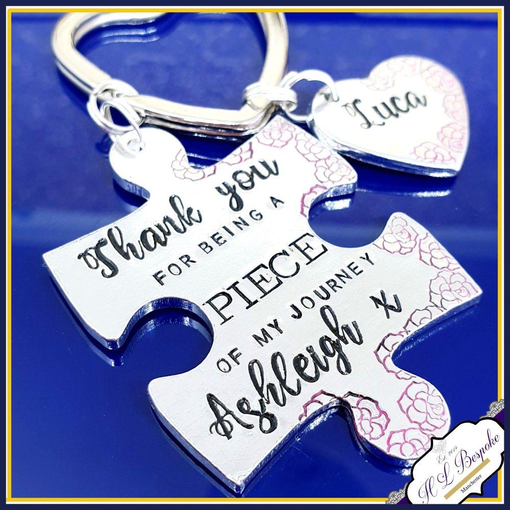 Personalised Nursery Key Worker Gift - Journey Key Worker Keyring - Puzzle