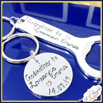 Godmother & Godfather Gifts - Godfather Bottle Opener And Godmother KeychainSet  - Godfather Gift - Godparent Bottle Opener - Christening