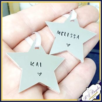 Personalised Star Name Christmas Decoration - Child's Simple Personalised Christmas Ornament - Star Christmas Tree Decoration - Tree Hanging
