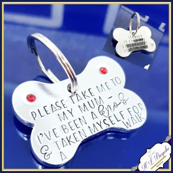 Personalised I've Been A Knob Dog Tag with Crystals - Bone Shaped Dog ID Tag - Bling Tag for Dogs - Funny Dog Tag - Bone Tag For Dog -Pet ID