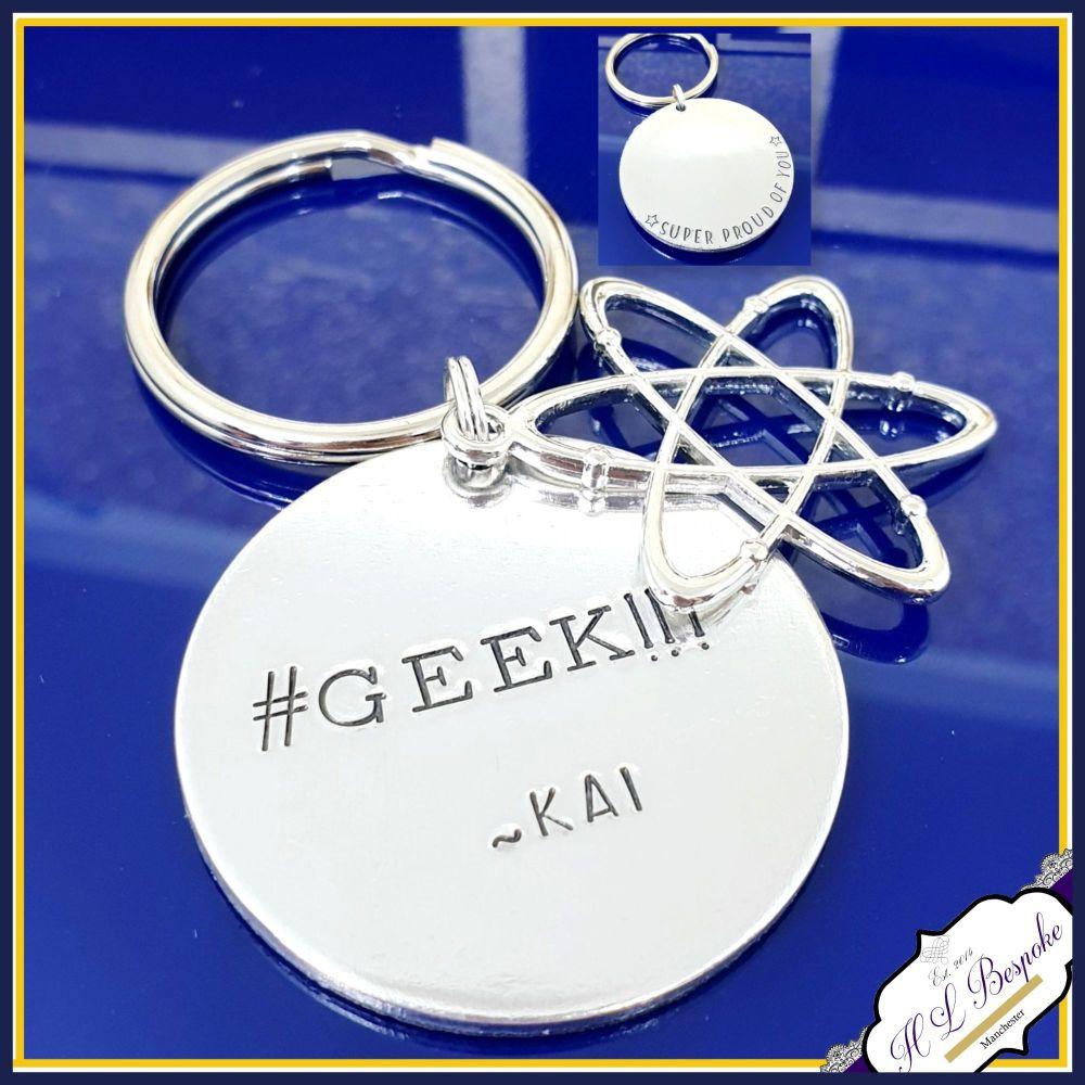 Personalised Science Geek Keyring - Atom Science Keyring - Science Graduati