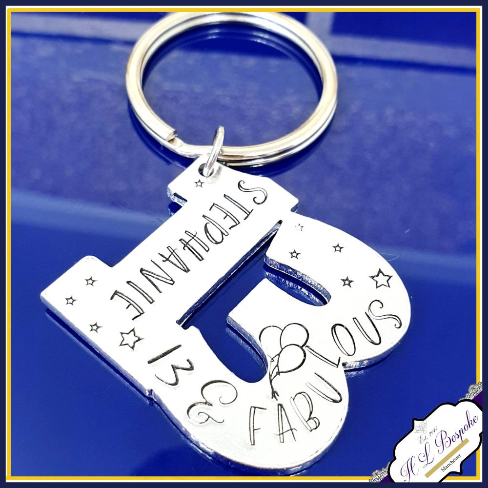 Personalised 13th Birthday Gift Keyring - Special Age Birthday Keyring - 13