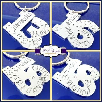 Personalised 18th Birthday Gift Keyring - Special Age Birthday Keyring - 18th 13th Birthday Gift - 18th Special Birthday Gift - Age Birthday