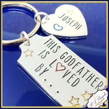 Personalised Godparent Gift This Godmother Is Love By Keyring - Godfather Keyring - Godmother Keychain - Christening Gift - Godparent Gift
