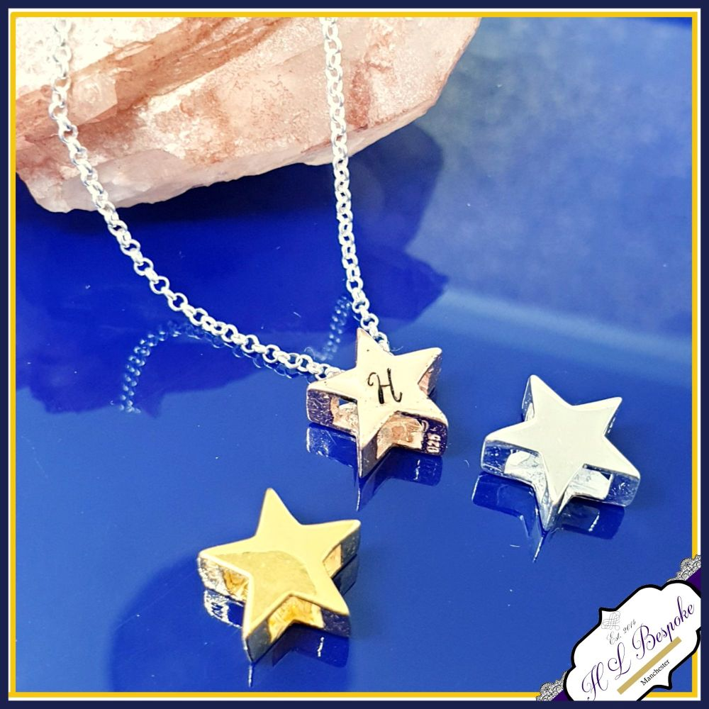 Personalised Dainty Star Initial Necklace - Rose Gold Star Necklace - Gold