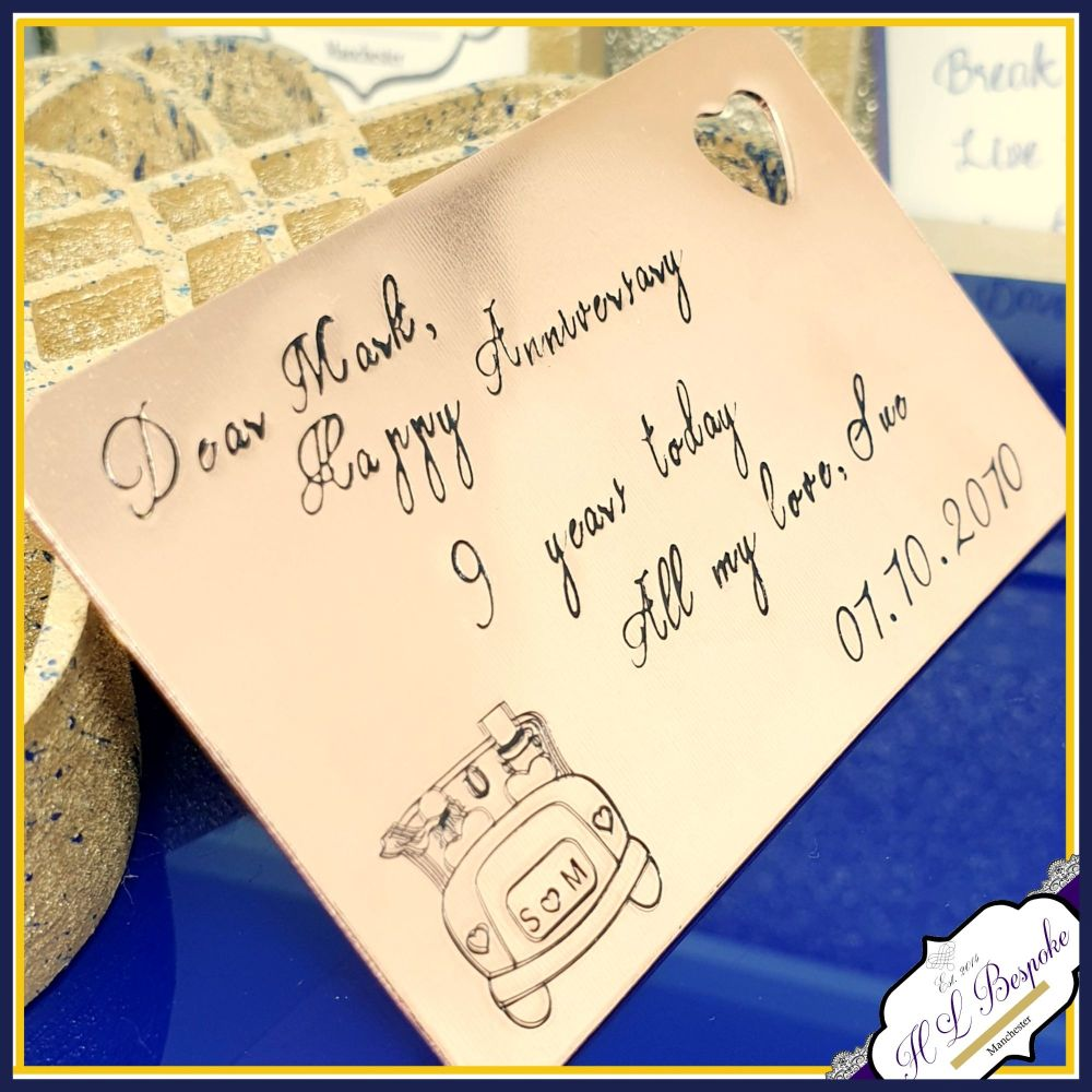 Personalised Copper 9th Wedding Anniversary Gift - Copper Wallet Insert -