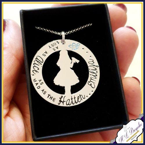 Personalised Alice In Wonderland Necklace - Alice In Wonderland Keyring - A