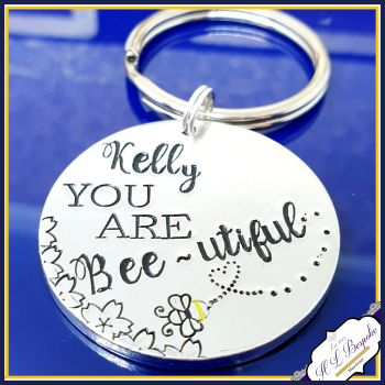 You Are Beeutiful Keyring - Bee Gift - Be Lucky Gift - Be U Tiful Lucky Keychain - You Are Beautiful Gift - Bumble Bee Keyring - Bumble Bee