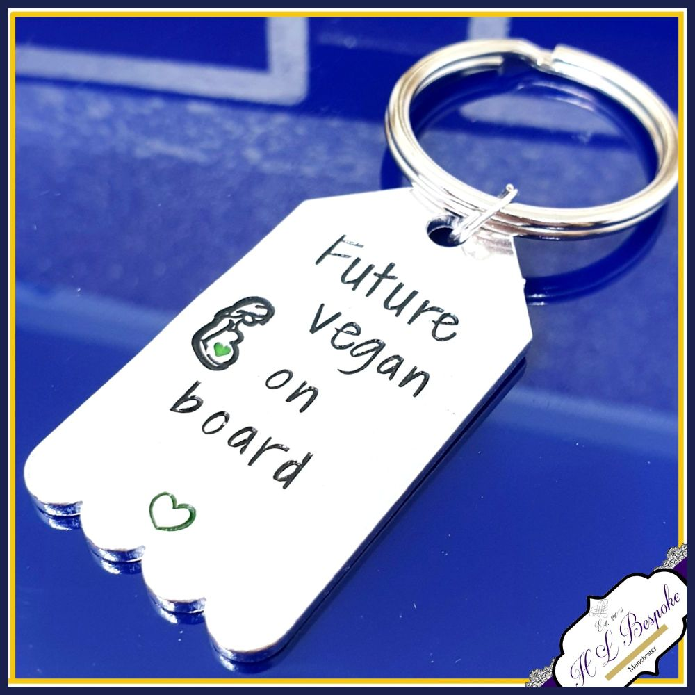 Vegan Mummy Keychain - Future Vegan On Board - Vegan Gift - Vegan To Be Gif
