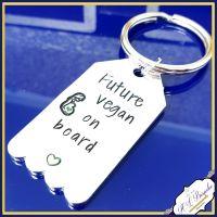 Vegan Mummy Keychain - Future Vegan On Board - Vegan Gift - Vegan To Be Gift - Vegan Mumma - Vegan Mummy Gift - Love Animals - Veganism