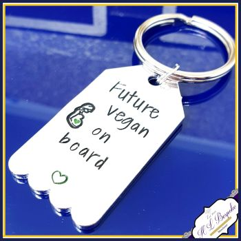 Vegan Mummy Keychain - Future Vegan On Board - Vegan Gift - Vegan To Be Gift - Vegan Mumma - Vegan Mummy Gift - Love Animals - Veganism