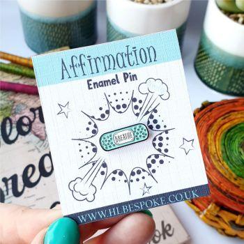 Mini Affirmation Breathe Achieve Enamel Pin - Breathe Flair Lapel Pins UK - Anxiety Enamel Pin