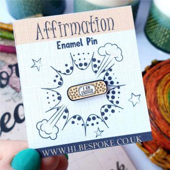 Mini Affirmation I Am Enough Enamel Pin - I Am Enough Flair Lapel Pins UK - Validity Enamel Pin