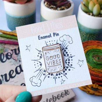 Good Vibes Enamel Pin - Good Vibes Flair Lapel Pins UK - Happy Enamel Pin