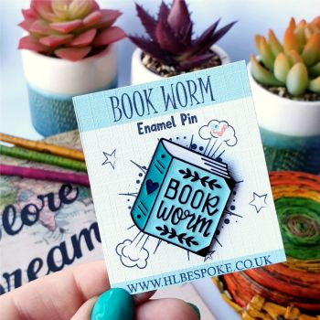 Book Worm Enamel Pin - Reading Flair Lapel Pins UK - Enamel Pin For Reader
