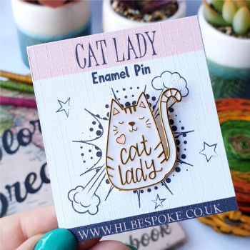 Cute Cat Lady Enamel Pin - Cat Flair Lapel Pins UK - Cat Lover Enamel Pin