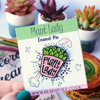 Plant Lady Enamel Pin - Vegan Flair Lapel Pins UK - Gardener Enamel Pin