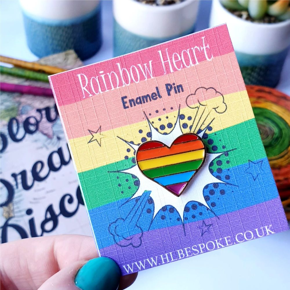 Rainbow Heart Enamel Pin - Pride Flair Lapel Pins UK - Rainbow Baby Enamel