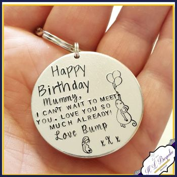 Pregnant Birthday Gift - Birthday Keyring - Happy Birthday Mummy To Be - From The Bump - Gift From Bump - Mummy To Be Gift From Baby