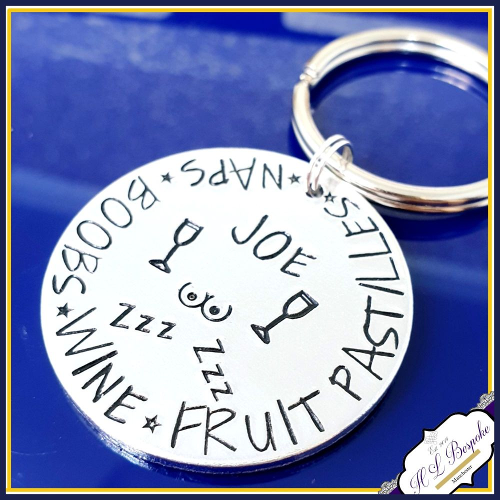 Personalised Man Keyring - Beer Boobs Pizza Repeat Gift - Typical Male Gift