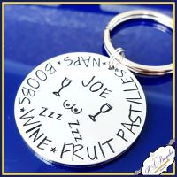 Personalised Man Keyring - Beer Boobs Pizza Repeat Gift - Typical Male Gift - Typical Male Keychain - Boob Man Gift - Gifts for Brothers