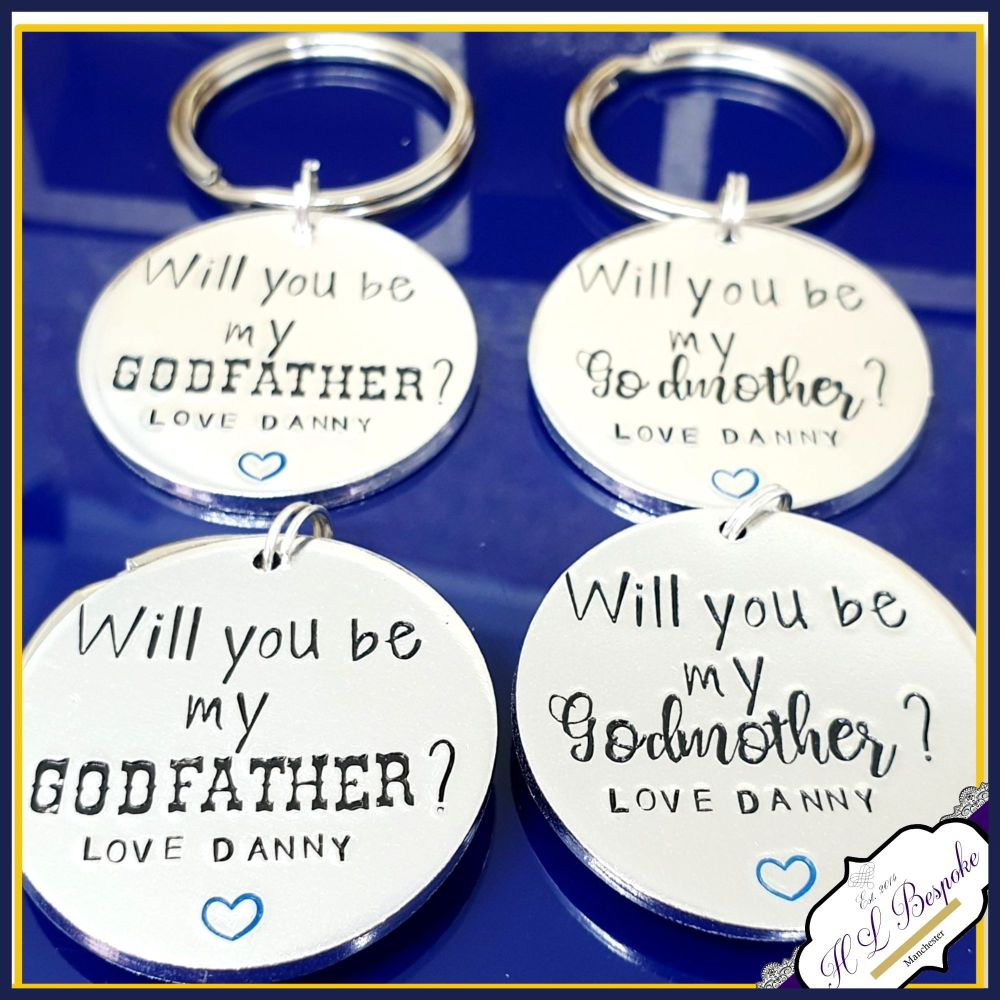 Personalised Will You Be My Godmother Gift - Godparent Proposal Keyring - B