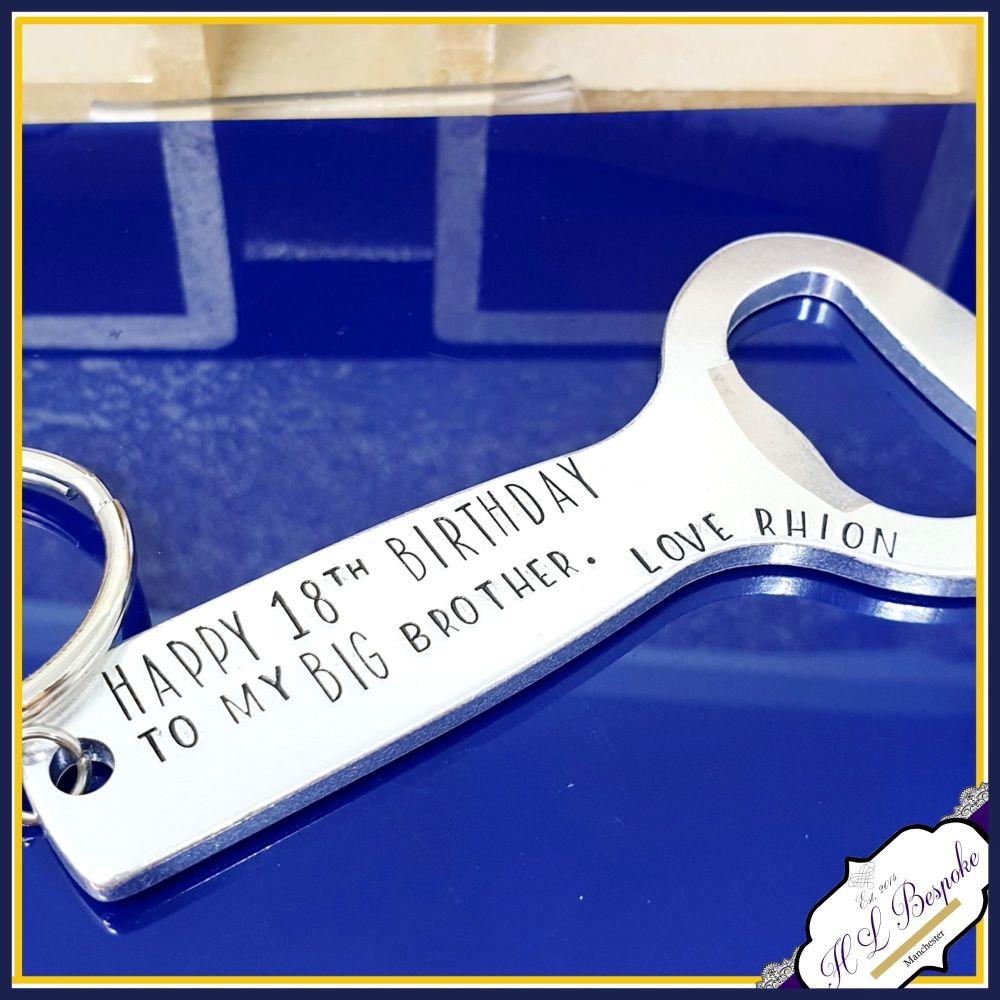 Personalised Beer Brother Bottle Opener Gift - Big Brother Keyring - Brothe