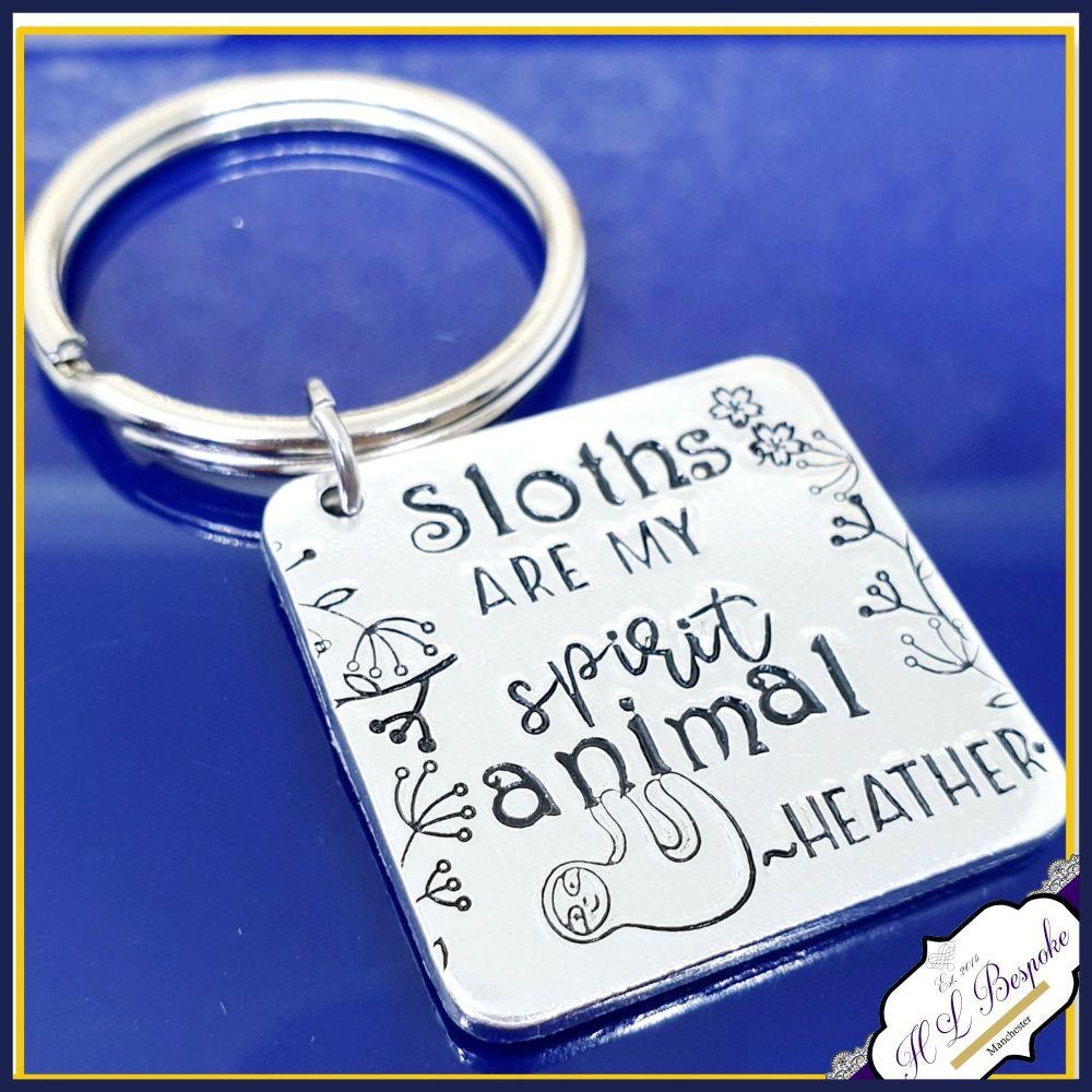Personalised Sloths Animal Spirit Keyring Gift - Sloth Keyring - Sloth Love