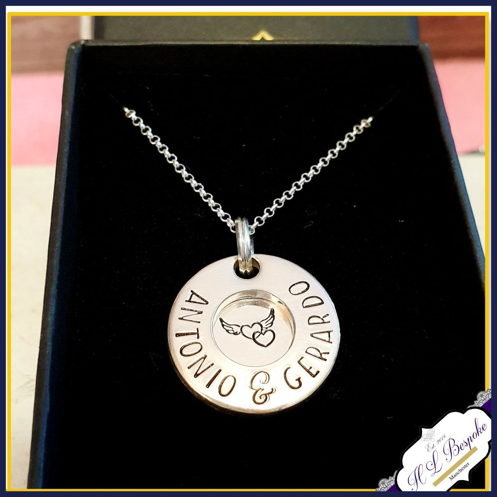 Personalised Chunky Silver Memorial Washer Pendant - In Memory Of Name Neck