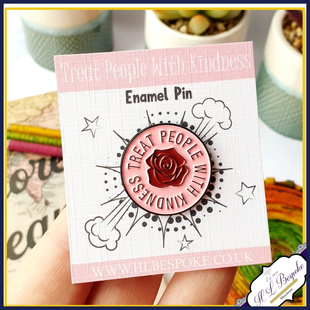 Treat People With Kindness Enamel Pin - Be Kind Flair Lapel Pins UK - Pink