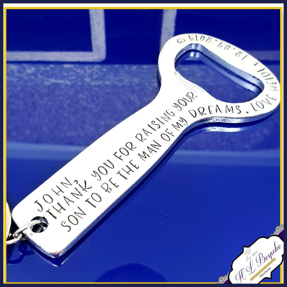 Personalised Wedding Bottle Opener Father Of The Groom Gift - Raising The M