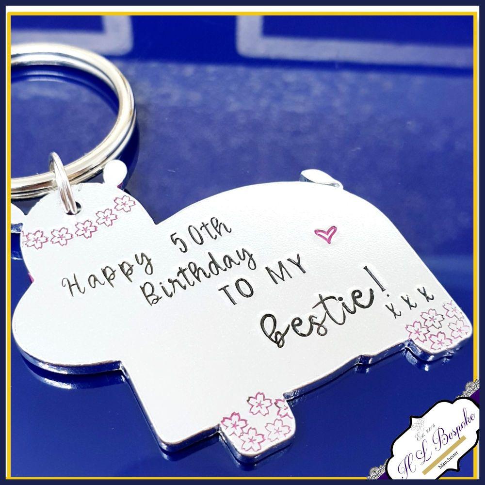 Personalised 50th Birthday Hippo Gift - 40th Birthday Hippo Keyring - CUSTO