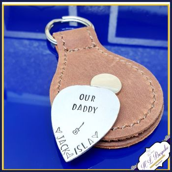 Personalised Sterling Silver Dad Guitar Pick With Leather Case - Music Gift For Daddy - Daddy Guitar Pick - Father's Day Keyring Guitar Pick