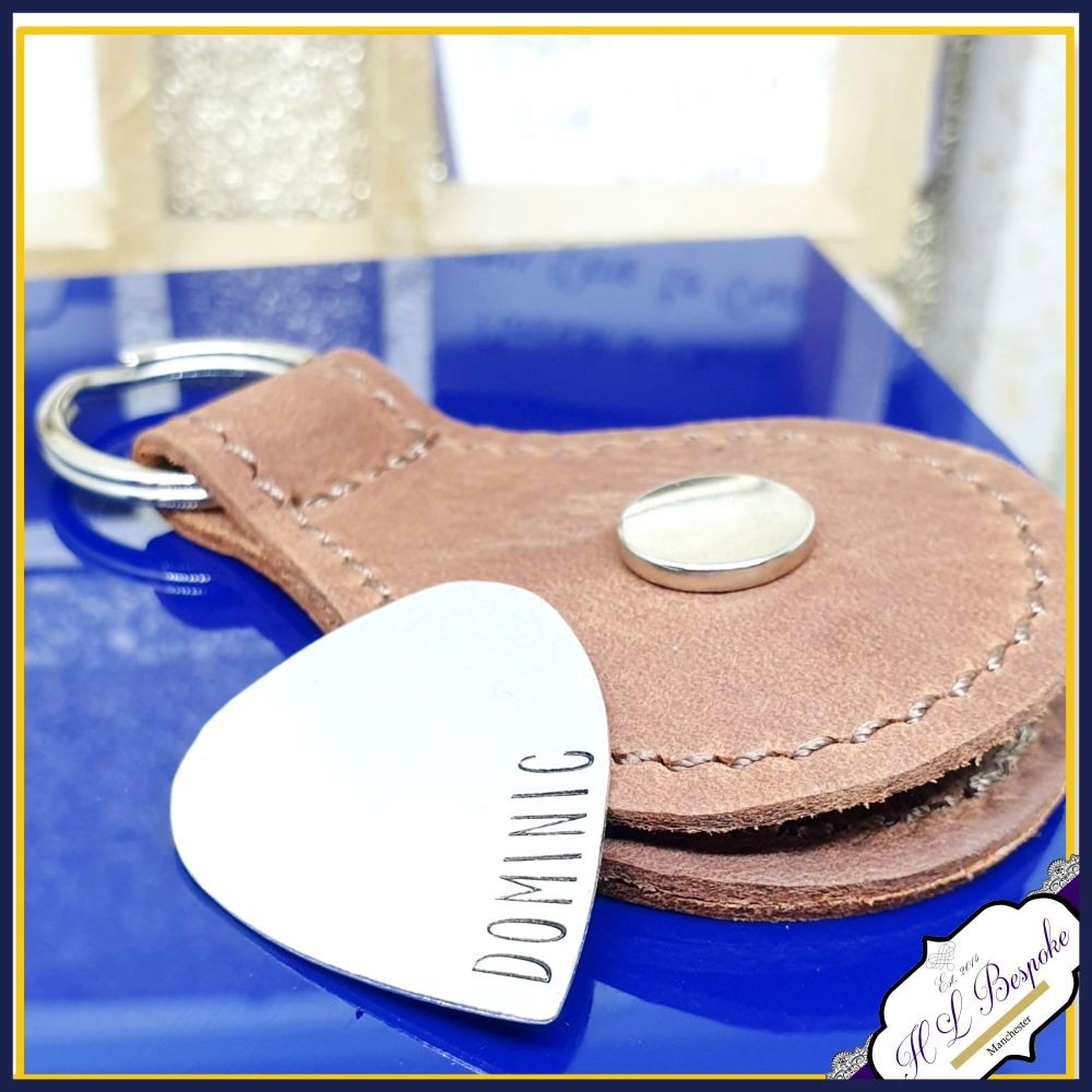 Personalised Sterling Silver Name Guitar Pick With Leather Case - Music Gif