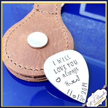Personalised Sterling Silver Wedding Guitar Guitar Pick With Leather Case - Leather 25th Anniversary Silver Gift - Music Birthday Gift Him