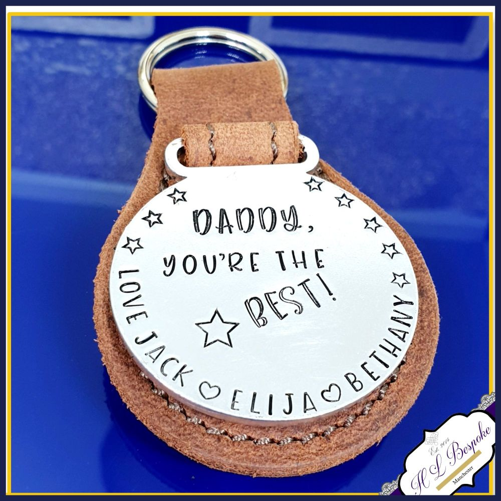Personalised Daddy Medal Keyring - Leather Dad Father's Day Keyring Gift -