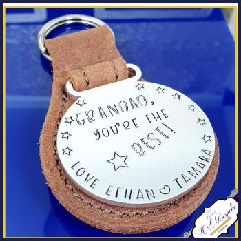 Personalised Grandad Medal Keyring - Leather Grandad Father's Day Keyring Gift - Medal For Uncle You're The Best - Dad Medal Gift - Unique