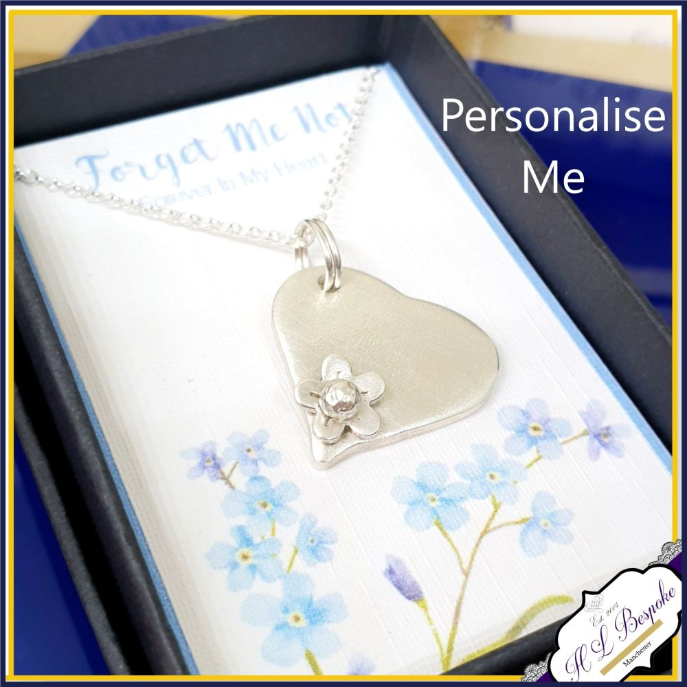 Personalised Sterling Silver Forget Me Not Necklace Pendant - In Memory Of