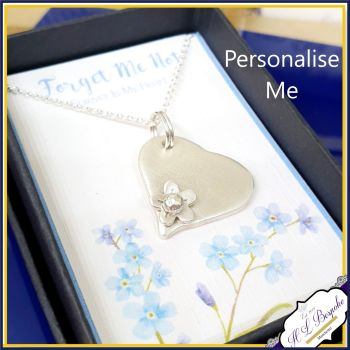 Personalised Sterling Silver Forget Me Not Necklace Pendant - In Memory Of Necklace - Sterling Silver Memorial Pendant - Heart Angel Jewel