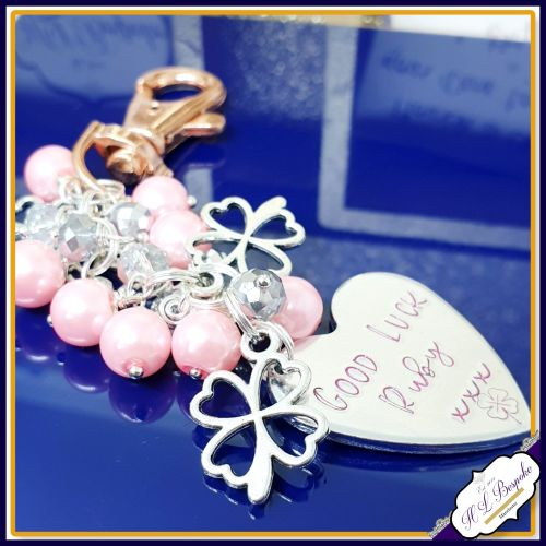 Personalised Bag Charm - Beaded Bag Charm - Personalised Beaded Keychain -