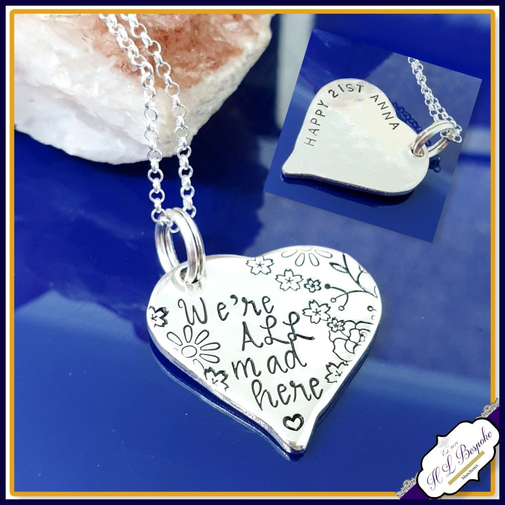 Personalised Alice In Wonderland Necklace - Jewellery Pendant We're All Mad