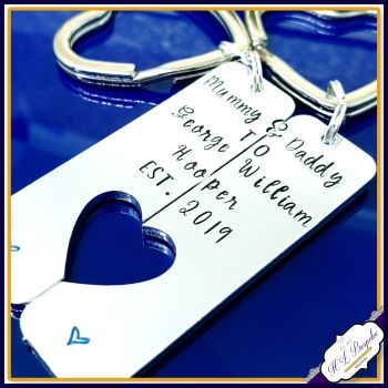 Personalised New Parent Gift - Pair Mummy & Daddy Keyrings - Keyrings For New Parents - Gift For New Mummy and Daddy - New Family Gift