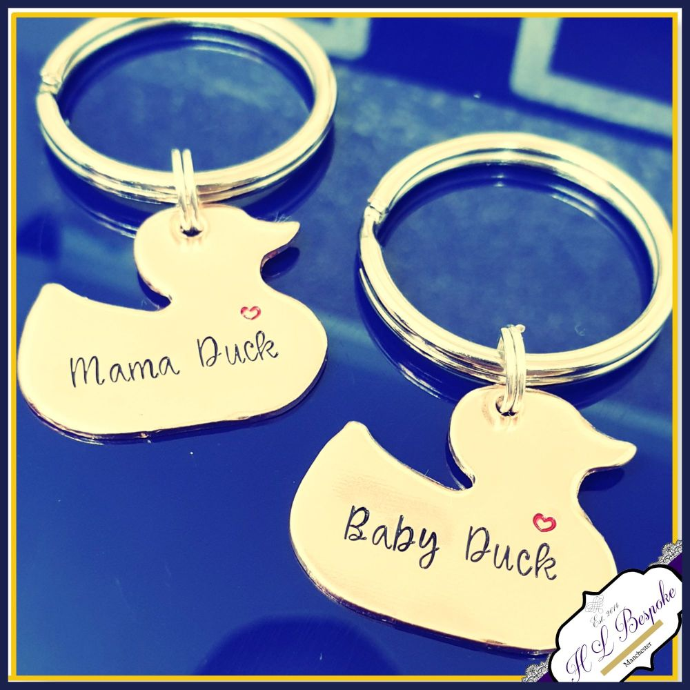 Personalised Mummy & Baby Duck Keyring Set - Mama Duck Keychain - Mother Da