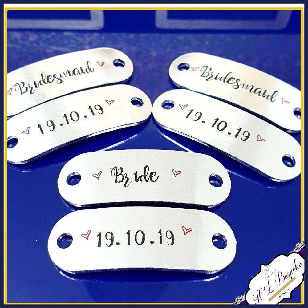 Personalised Wedding Day Trainer Tags For Bridesmaids - Bride Trainer Tags