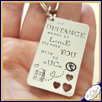 Personalised Distance Means So Little Keyring - Missing You Gift - Distance Keyring - Deployment Gift - Traveller Keychain - Distant Friend